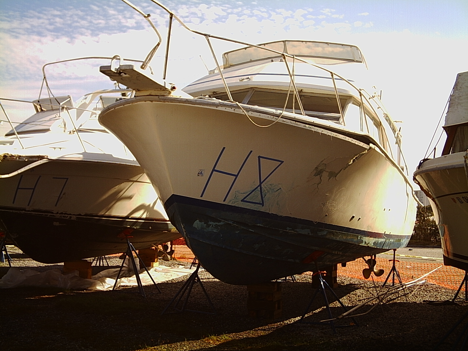 This Bertram 33 was damaged by Hurricane Ivan in 2004. The boat slammed into ...
